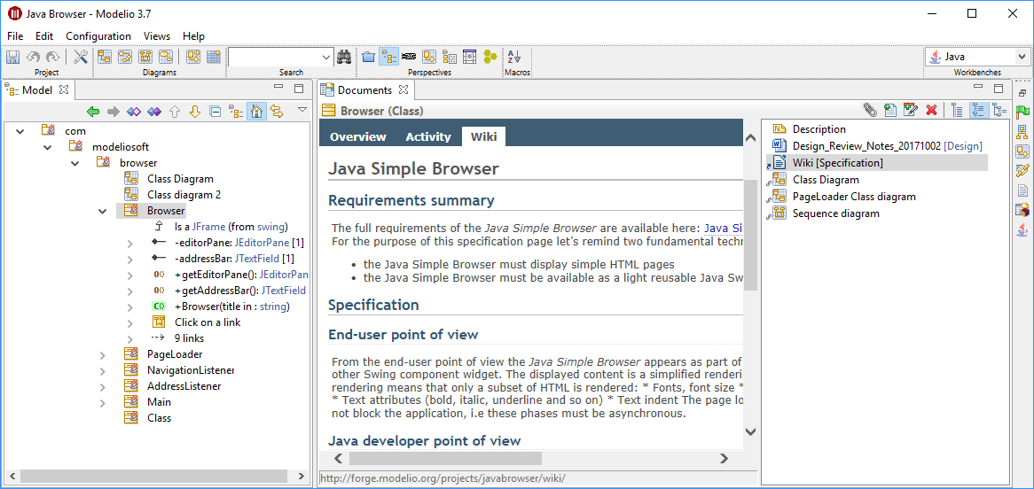 Modelio 37 released document view the current element browser class appears in three diagrams has an attached note external document and a wiki link that as selected ccuart Image collections