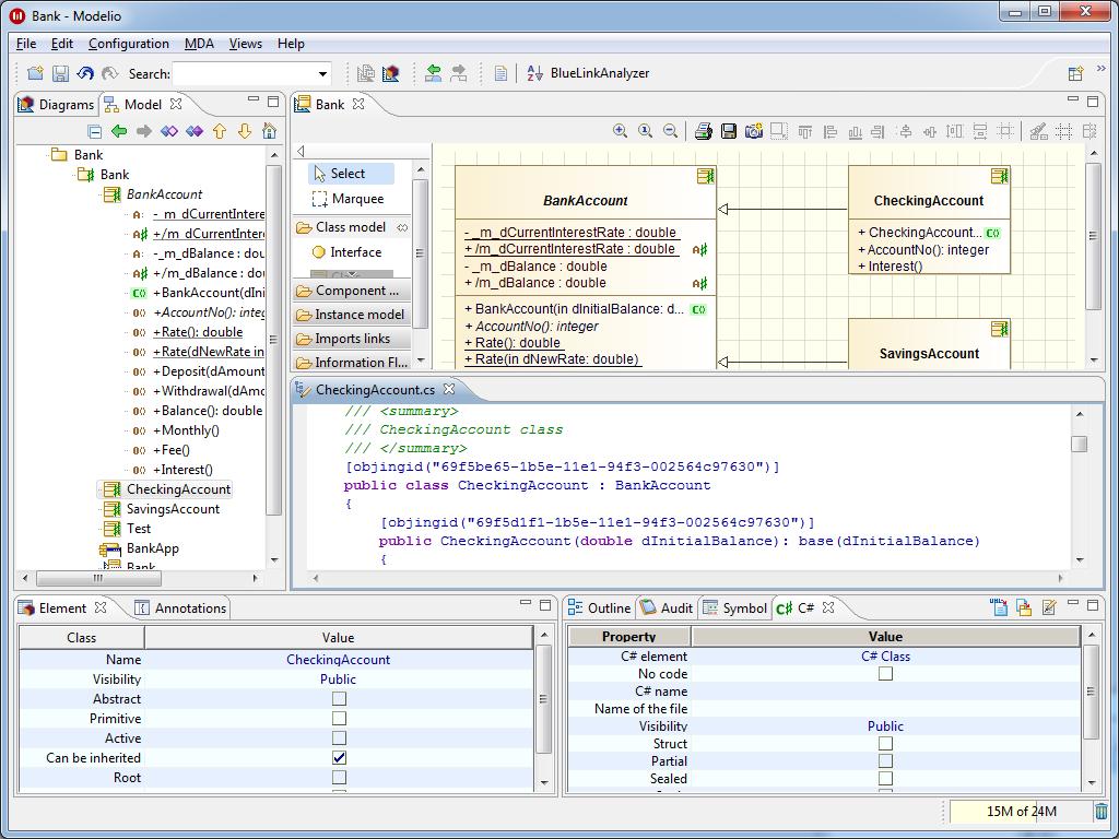 Modelio C# Designer | Code generation/reverse from/to UML