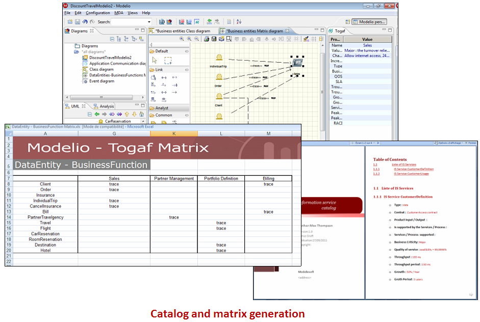 Matrix, catalog and report generation