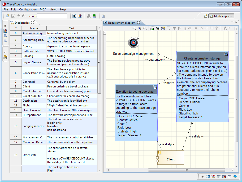 Modeliosoft integrated requirements and vision support spreadsheet editors and dedicated diagrams wajeb